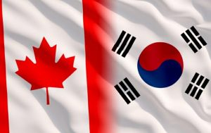 Korean and Canadian flags